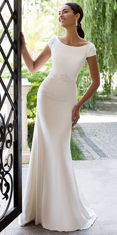 Modest Satin Bateau Neckline Cut-out Back Mermaid Wedding Dress With Beaded Lace Appliques