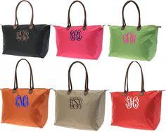 Monogrammed Medium Longchamp Style Tote Bag