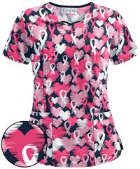 Spread love and awareness with pink ribbon scrub tops today, like the UA Love And Ribbons Navy Print Scrub Top. Shop at Uniform Advantage today! Cute Scrubs Uniform, Cute Nursing Scrubs, Navy Scrubs, Uniform Advantage, Cute Nurse, Scrub Jackets, Medical Scrubs, Scrub Tops, Floral Tops