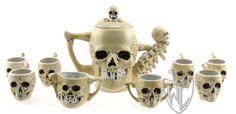 Skull Tea Set - Pirate Barware and Mugs  http://wists.com/ClaraOhara/skull/428ab176bce09aa30fd3f9c2c584d798