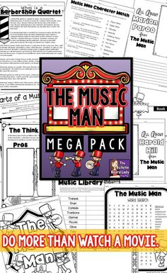 The Music Man is a great movie musical to introduce your students to the world of musicals.  This mega pack of worksheets, activities, writing prompts and more is perfect for students in your 1st through 8th grade classroom.  No prep music worksheets mean that planning is a breeze. Great activity to leave for a sub!
