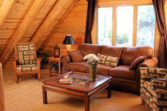Log home lounge area