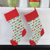 Image of christmas stockings - argyle w/ red dot i love #thepleatedpoppy