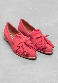 & Other Stories | Tassel Nubuck Flats. Crafted from matte nubuck, these flats have an eye-catching vamp featuring fringes and tassels.