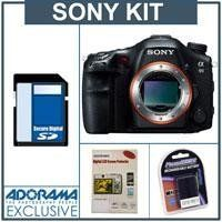 "Sony SLT-A99V Digital SLR Camera Body - Bundle - with 8GB SDHC Card, Spare Battery, Screen Protector/Cleaning Kit by Sony. $2808.00. A full-fledged pro DSLR featuring a 24.3MP 35mm-sized CMOS sensor, the Sony Alpha SLT-A99V, offers the world's first dual AF system in a DSLR, and the world's lightest body for a full-frame DSLR, this dust- and moisture-sealed camera replaces the old Alpha A-series A900 and A700 full-frame DSLRs and boasts what Sony calls ""dramatically improved ima..."