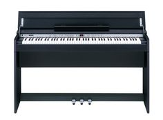 This is the Roland DP-990. It is a digital piano with 88 full-size, weighted keys that folds up to be a narrow (less than 14″ deep) side table.