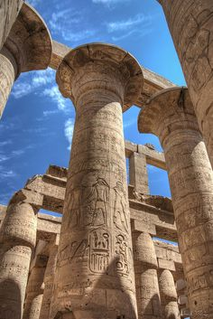 Karnak temple in Luxor - Column shaft with stylized Lotus capital. Hieroglyphs on columnar shaft. Karnak temple in Luxor, Eg - Ancient Ruins, Ancient Egypt, Ancient History, Places To See, Places To Travel, Places Around The World, Around The Worlds, Architecture Antique, Visit Egypt