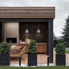 House architecture design exterior modern New ideas Outdoor Kitchen Cabinets, Backyard Kitchen, Outdoor Kitchen Design, Backyard Patio, Backyard Landscaping, Patio Grill, Kitchen Modern, Kitchen Countertops, Modern Patio Design