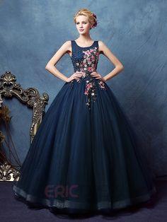Ericdress Scoop Ball Gown Appliques Beaded Floor-Length Quinceanera Dress 1