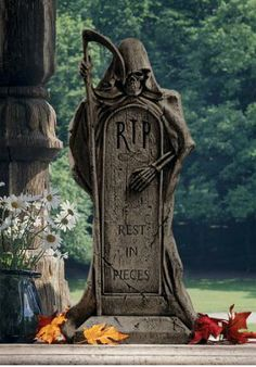 Grim Reaper tombstone  (This one will make you laugh.  If you can't read the bottom, wait 'till you are on the laptop.)