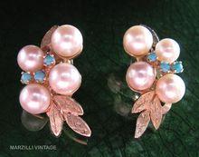 Vintage 14K turquoise & Pearl Clip Earrings
