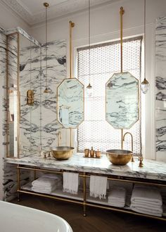 marble bathroom, world of interiors
