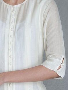 Ivory-Indigo Pleated Button Down Kalidar Kurta with Block Printed Churidar Set of 2 by Raiman Sethi Neck Designs For Suits, Neckline Designs, Sleeves Designs For Dresses, Dress Neck Designs, Sleeve Designs, Blouse Designs, Churidar Neck Designs, Salwar Designs, Kurta Designs Women