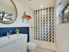 Industrial-modern design with deco tile bathtub 3021 Castro St, Austin, TX 78702