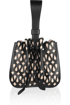 Laser-cut leather bucket bag by Alaïa