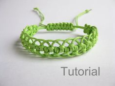 Instant Download PATTERN Green Lacy Macrame Bracelet Pattern and Tutorial  - Macrame Bracelet pdf & Adjustable Clasp Tutorial