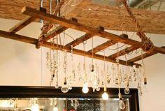 60 Genius Storage Ideas For Under Stairs Magnificient Farmhouse Ladder Chandelier Ideas 52 Hanging Ladder, Hanging Lights, Melrose House, Diy Pallet Wall, Pallet Ideas, Under Stairs, Home Lighting, Rustic Lighting, Light Fixtures