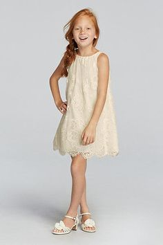 Sleeveless All Over Lace Flower Girl Dress with Scalloped. Boho Flower Girl Dress.