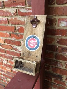 chicago cubs inspired personalized bar sign, beer bottle opener, custom wood bottle opener, wall mounted, cap catcher, bestman gift by OniontownRepurposed on Etsy
