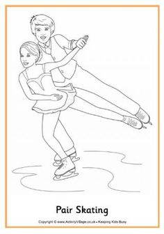 Pair skating coloring page: Winter Olympic Crafts for Kids. #StayCurious