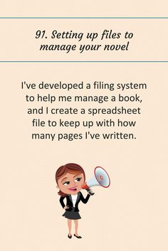 91: Setting up files to manage your novel.