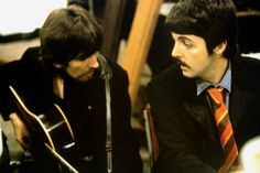 George and Paul during the recording of A Day In The Life for Sgt Pepper, 19th January, 1967.
