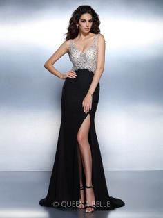 Trumpet/Mermaid V-neck Sleeveless Beading Sweep/Brush Train Chiffon Dresses - Evening Dresses - Occasion Dresses - QueenaBelle.com
