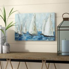 Highland Dunes 'Coastal Sailboat Race' Acrylic Painting Print on Canvas All sizes Coastal Wall Art, Beach Wall Art, Coastal Decor, Coastal Style, Sailboat Racing, Sailboat Art, Sailboats, Nautical Painting, Sailboat Painting