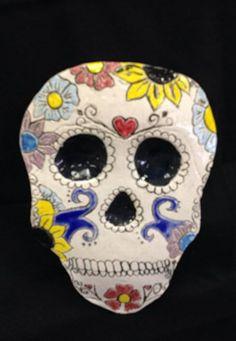 Ember114's art on Artsonia; Butler High School ceramic Day of the Dead mask; grade 12