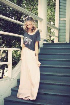 t-shirt, casual, pink maxi skirt, crop top - Wheretoget