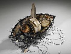 ONE SAIL:  Shannon Weber, Oregon woven, stitched, encaustic, willow, paper, beach stones, kelp