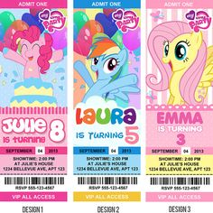 My little pony Birthday Invitations / Birthday Party card - Digital Printable File