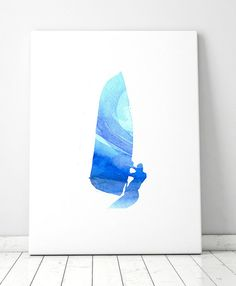 Surf art windsurfer watercolor Giclee Print blue wave