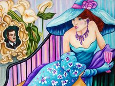 Art Print Art Deco Woman Big Hat Wall Couples Turquoise Blue Art Giclee from Original Painting  Lovers by k Madison Moore - pinned by pin4etsy.com