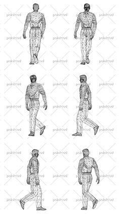 Wireframe design of walking Man. Vector illustration. Isolated objects over white background.