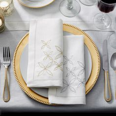 Seaver Embroidered Linen Napkin Set by SFERRA