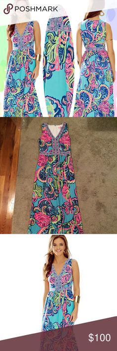 Lilly Pulitzer Addison maxi dress. Lilly Pulitzer v-neck maxi dress. Beautiful pattern. Worn 2x. Perfect summer dress! Lilly Pulitzer Dresses Maxi