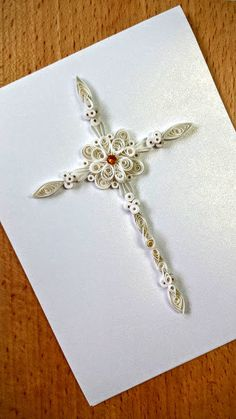 Paper quilling Handmade Cross Card First by SweetPaperDesignSol