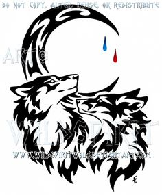 f9f82614c Wolf And Fox + Tear Drop Moon Tribal Design by  WildSpiritWolf.deviantart.com on