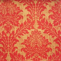 Lydford Damask Fabric A classic damask fabric with a distressed strie effect in scarlet on a semi reflective bronze background.