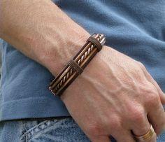 Hommes cuir et cuivre Bracelet, Bracelet de cuir pour hommes, bracelet cuivre homme, Bracelet cuivre, Bracelet en cuir, cuivre martelé