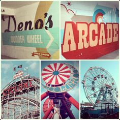 Steve Power's super saturated signs in Luna Park, Coney Island.