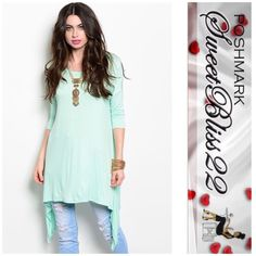 💕Mint Tunic💕 The most versatile top you can ever buy. Wear with shorts, leggings, or jeans! Either way you are fabulous! ⭐️100% Polyester ⭐️ Small measures 34 inches in the bust ⭐️️️️️Medium measures 36 inches in the bust Don't miss out Tops Tunics