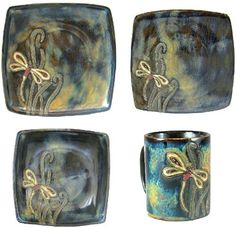 MARA STONEWARE COLLECTION - 16 Piece (4 Person) Collectible Square Shaped Dinnerware Place Setting - Dragonfly by Mara Stoneware, http://www.amazon.com/dp/B005TP1KQE/ref=cm_sw_r_pi_dp_Wvp6rb0QRJWV3