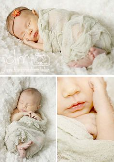 Newborn photography session :: baby girl. Cheesecloth wrap and headband.