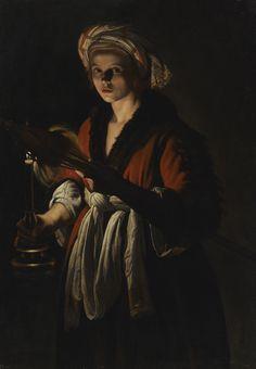 Adam Coster (h. 1586 – 1643), Mujer joven sosteniendo una rueca ante una vela prendida, óleo sobre tela, 134 x 94.9 cm.