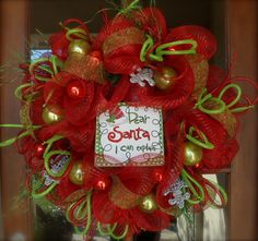 christmas wreath with deco mesh