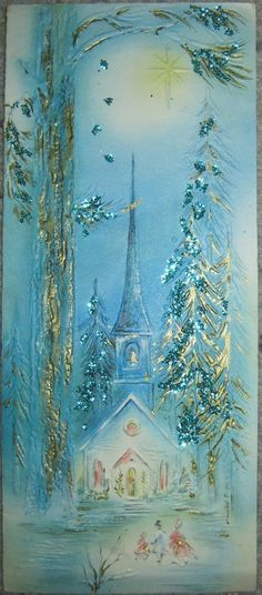 Vintage light blue embossed and glittered Christmas card with a church scene.