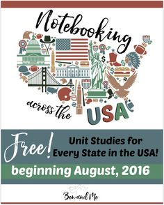 Free Unit Studies For All 50 States Notebooking Across The Usa Beginning In August 2016 Your Homeschool Students Grades 3 8 Can Notebook Across The Usa With These States Unit Studies Us Geography, Geography Activities, Teaching Geography, Learning Activities, States And Capitals, Teaching Social Studies, Teaching Tools, Teaching Kids, Home Schooling