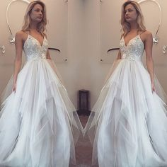 Beautiful V-neck white organza long prom dress with straps, ball gowns wedding dress,236